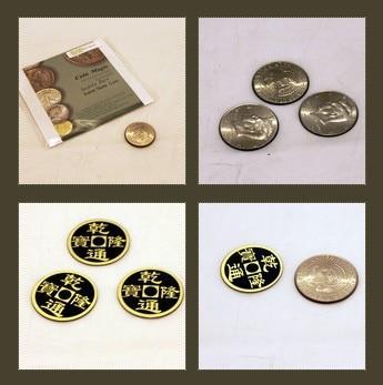 Coin magic Double face super triple coin DVD Gimmick Magic Tricks mentalism close up Illusion