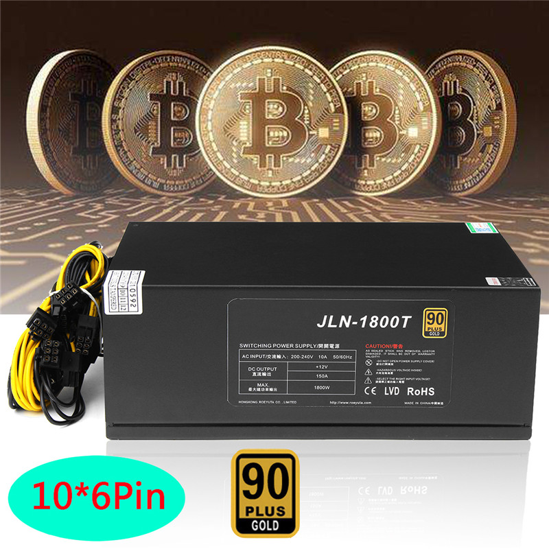 цена Bitcoin 1800W PLUS BTC Gold Miner Power Supply 6 Pin ETH ATX PC Computer Mining Power Supply Fan For Ethereum Bitcoin