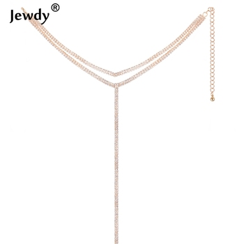 2018 Rhinestone Double Choker Necklaces Lariat Chain Pendant 90s Collier Women Chocker Statement Maxi Collar Wedding Jewellery 1