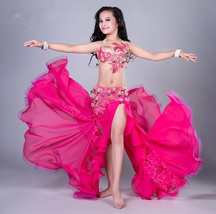 Autumn Winter Girls Belly Dance Stage Show Performance Costume 2 Piece Set Bra Maxi Skirt Rose