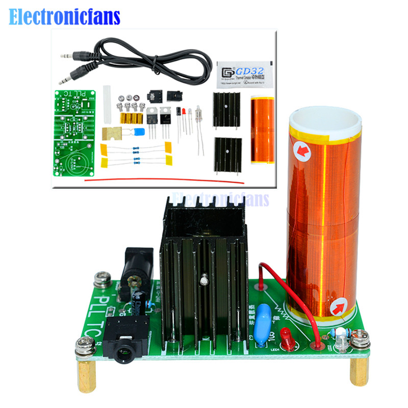Mini Tesla Coil Plasma Speaker Electronic Kit 15W DIY Kits AL
