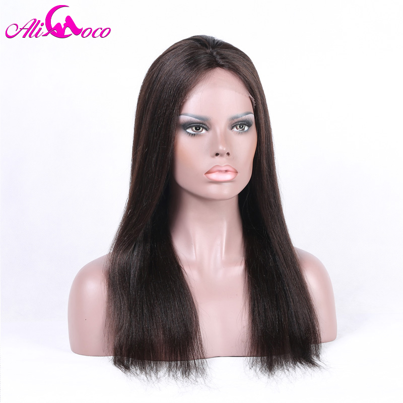 Ali Coco Brazilian 4*4 Straight Lace Front Wig With Baby Hair 8 28 Inch 150% Density Natural Color 100% Remy Human Hair Wigs-in Human Hair Lace Wigs from Hair Extensions & Wigs    1