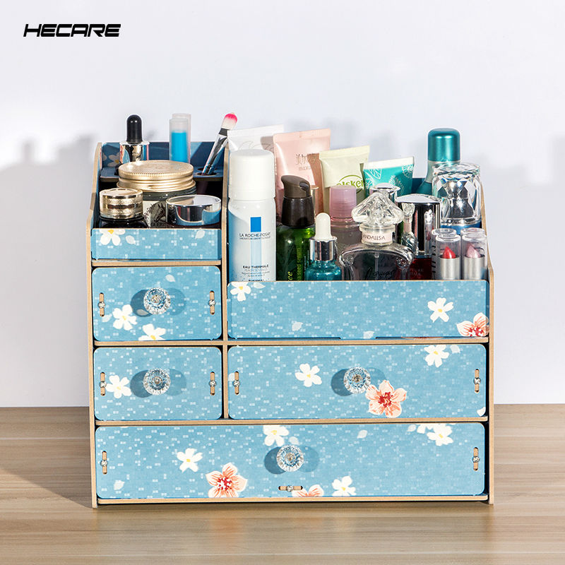 HECARE DIY Wooden Storage Box Makeup Organizer Jewelry Container