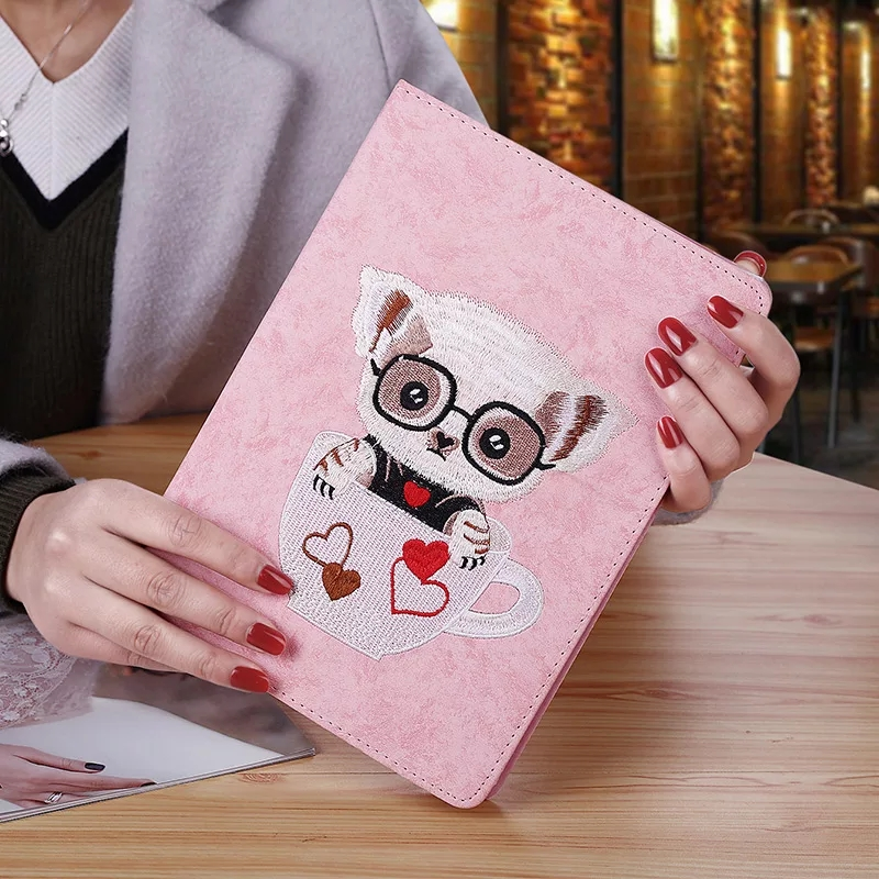 for iPad Air 1 Air 2 Case Smart PU Leather Sleeve for iPad 5 6 Case Cute Cartoon 3D Embroidery PC Stand Back Cover with film for ipad air case dowswin pu leather smart case for ipad air cover with pc hard back stand flip case for ipad air 1 cases