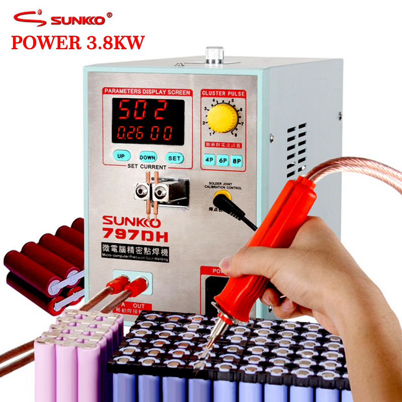 SUNKKO 797DH 3.8KW Alta Potência de Solda máquina de solda a ponto da bateria espessura de até 0.35mm de Pulso local soldador com 70B weldin