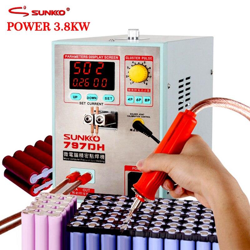 SUNKKO 797DH macchina di saldatura a punti della batteria 3.8KW lo spessore di Saldatura Ad Alta Potenza fino a 0.35mm di Impulso spot saldatore con 70B weldin