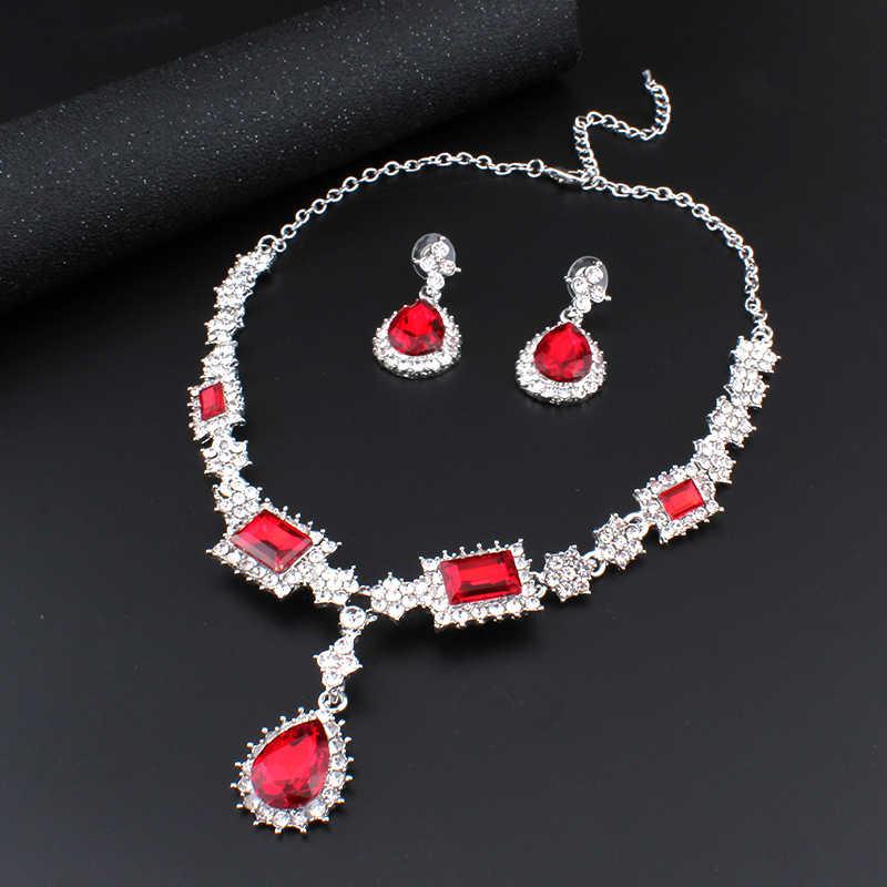 Jiayijiaduo Parvis Bijoux Femme Turki Perhiasan Bisuteria Warna Perak Kalung Anting-Anting Set Perhiasan Pernikahan Set Merah Perhiasan