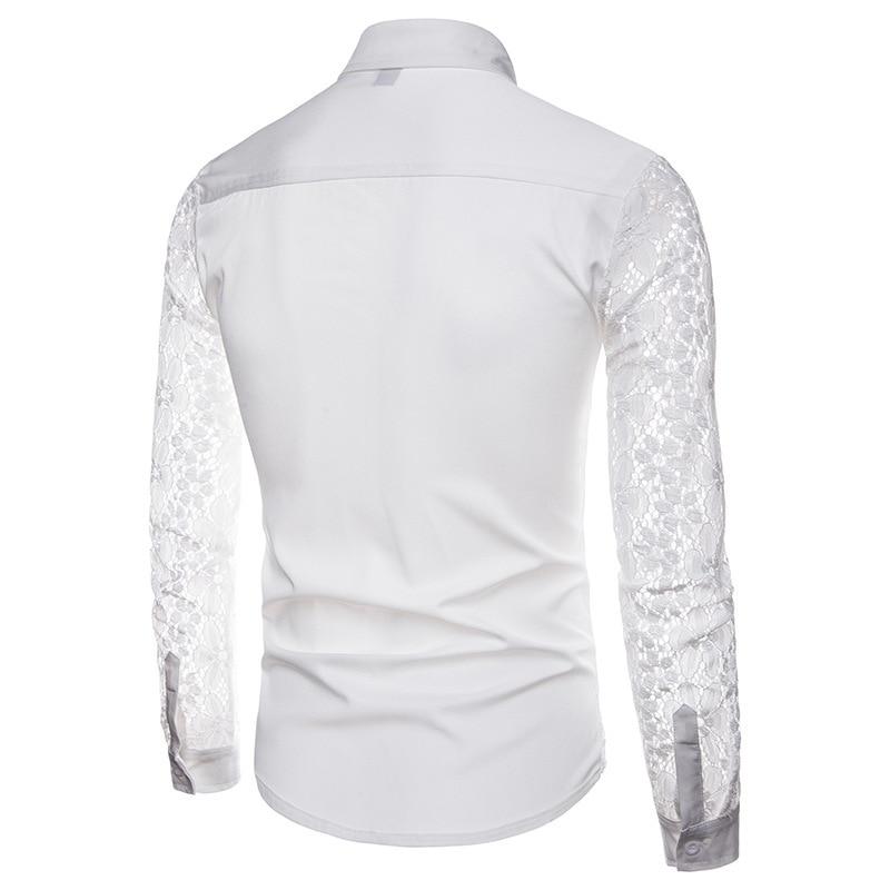 Chemise Manches Tops Couleur Casual Hiver Design Solide Automne Hommes Black Camisa Shirts Mode À Male Dentelle Revers Robe De Longues 1EqxSpC