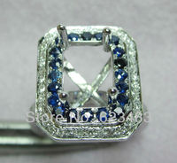 Solid 14k White Gold Sapphire Semi Mount Ring