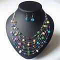 2 colores Nuevo Sistemas de La Joyería de Moda de Verano Multicolor de múltiples capas de Perlas De Cristal colgante Collar Pendientes para mujeres Regalos Del Partido
