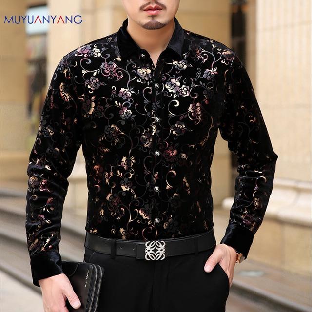 Mu יואן יאנג 2020 גברים אופנה פלנל חולצות רשמיות שרוול ארוך שחור חולצה מותג mens בגדי גדול גודל 3XL 50% off рубашка
