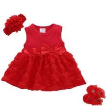 여름 새로운 태어난 된 여자 여자 옷 로즈 꽃 드레스 1-2years 파티 드레스 신발 세트 아기 의류 아이 드레스 Bebes