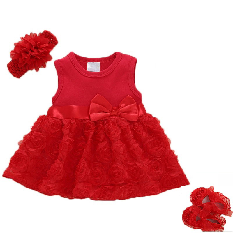 Summer New Born Baby Girls clothes Rose flower dress 1-2years Party Dress Shoes Set Baby Clothing Kids Dresses for Girls Bebes
