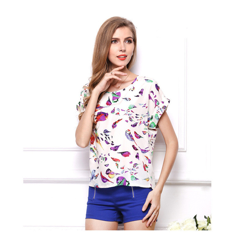 New Women Summer Tops Fashion Female Round Neck Chiffon Short-Sleeved Printing Clothes Leisure Chiffon Blouse Tops