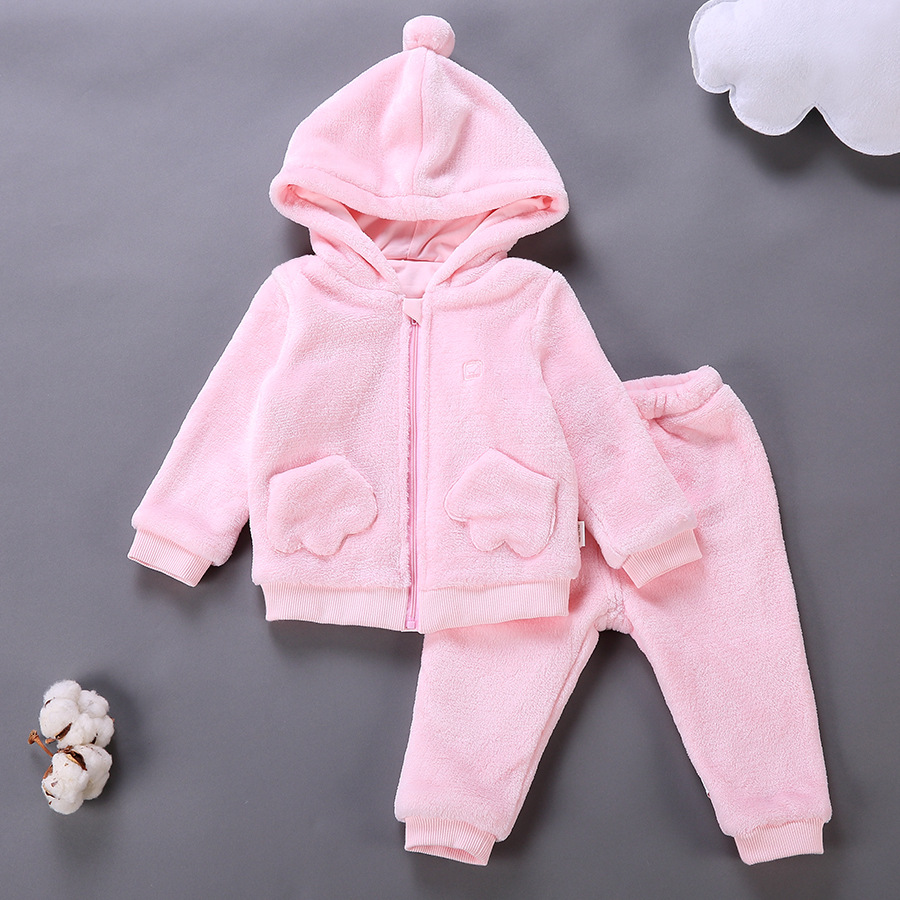 2017 Baby Girls Spring Autumn Clothing Set Infant Toddler Coral Fleece Sweater Trousers Children Kids Zipper Hoodies Pants Suit