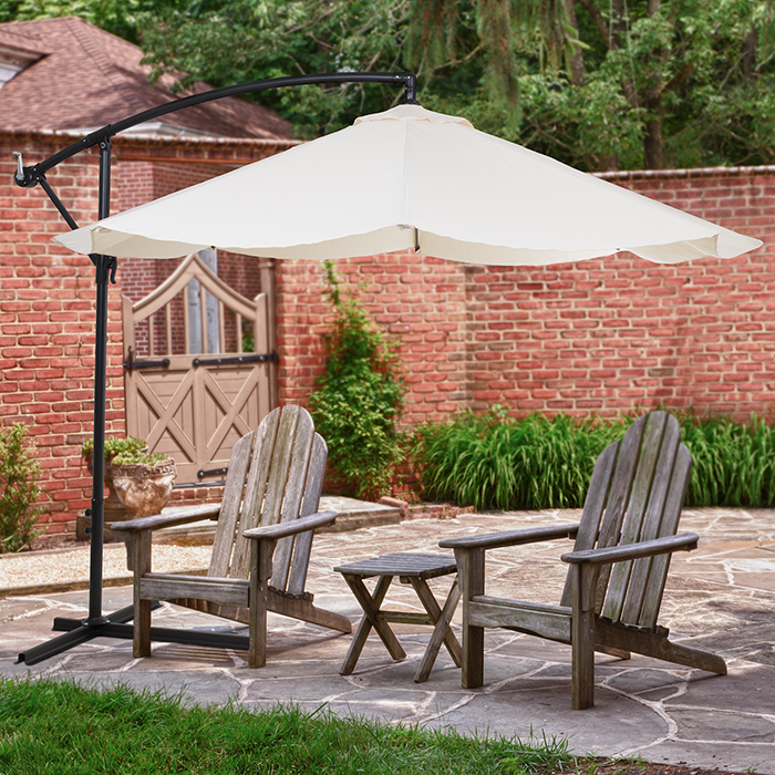Pure Garden Offset 10' Aluminum Hanging Patio Umbrella - Tan the hanging garden