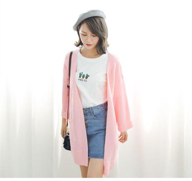 2016 Menina Casual Longo de Malha Cardigan Outono Mulheres Coreanas Bolso Cor Sólida Solto Camisola Projeto Casaco Rosa Bege