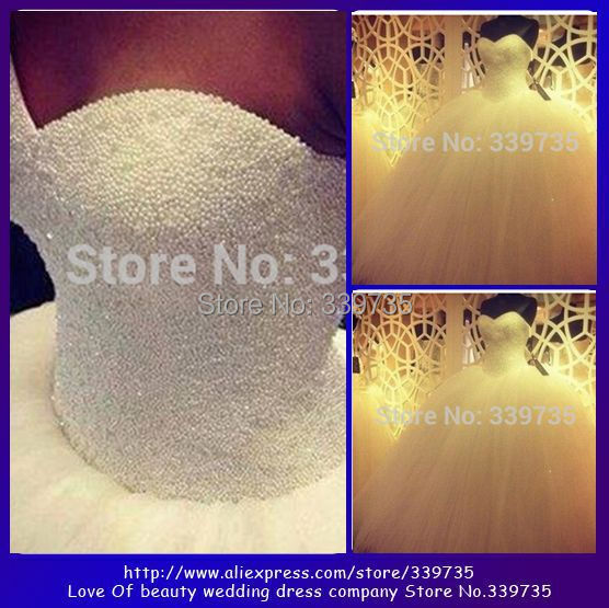 2014 New Custom Made Real Sample Tulle With Pearls