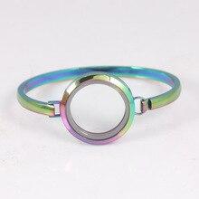 Rainbow Stainless Steel Floating Locket Bangles Round Screw Plain Living Bracelets For Women 6pcs