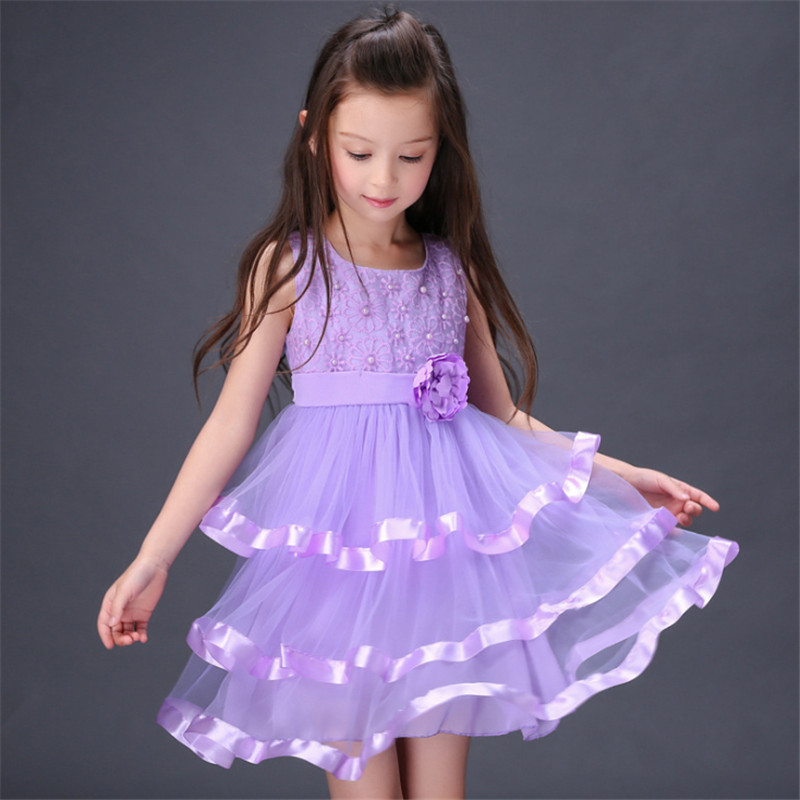 ФОТО 1pc Cute Princess Style Girls Dresses Ball Gown Stage Performance Party Wedding Dress Summer Sleeveless Layered Vestidos
