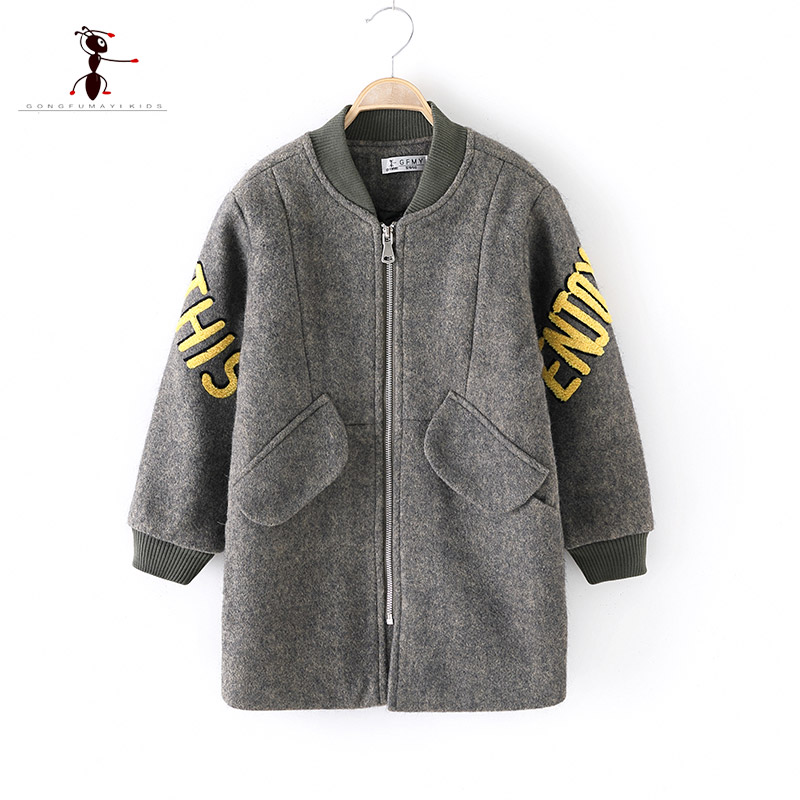 цены 2018 Original Brand Autumn winter Fashion Big Pocket Wool Boys Coat Zipper O- collar Children's Gentleman's Coat 9095