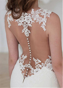 Image 3 - Exquisite Jewel Neckline Natural Waistline Mermaid Wedding Dress With Lace Appliques Cutout Side Sexy Open Back Bridal Gown