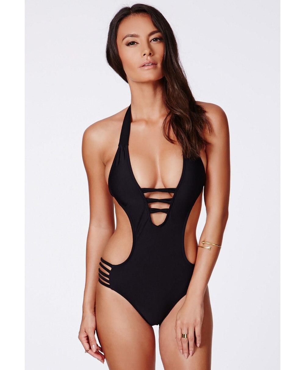 Merek Swimwear Wanita Tinggi Pinggang One Piece Swimsuit Sexy Monokini Baju  renang Womens Perban Swimsuit Hitam Swimwear b0f3db9689