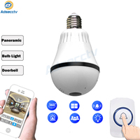 IP wi fi wireless bulb shape camera fisheye Lens 360 degree Panoramic view home security camera with doorbell ring dual light