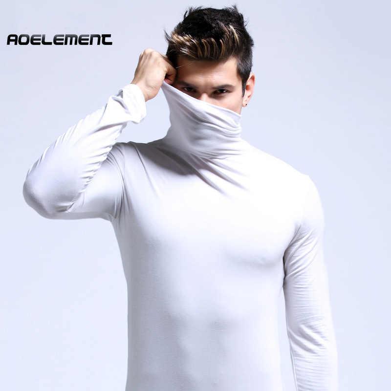 Эластичный хлопок мужское термобелье зима Свитер с воротником мужской одежды футболка большой размер XXXL человек с длинным рукавом майка Для мужчин