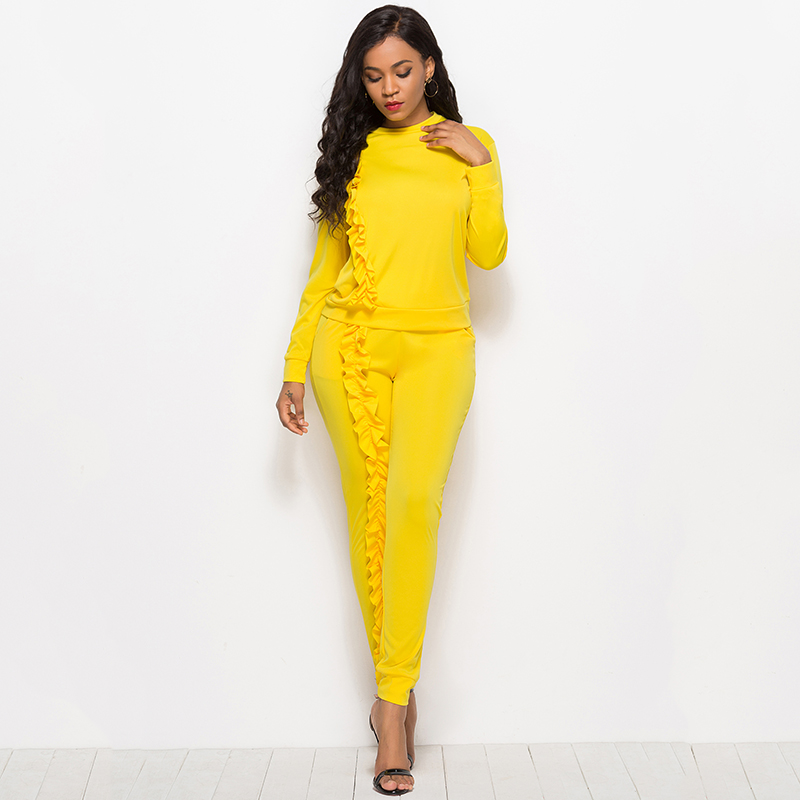 2019 Autumn New Solid Two Piece Sets Women Long Sleeve Round Neck Tops Trousers Ruffles Tracksuit Set 2 Piece Sets Ladies Suits 45
