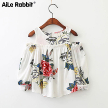 AiLe Rabbit 2018 New Arrival Girls Flower Tops Blouse Long Sleeve Shirts Clothing Childrens Wear Brand Boutique