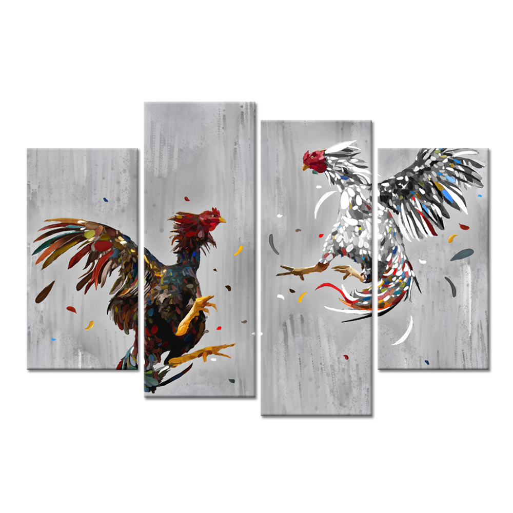 Farm Animal 4 Panel Canvas Wall Art Cock Fighting Picture Painting Rooster Art Print Rustic Chicken Country Kitchen Home Decor