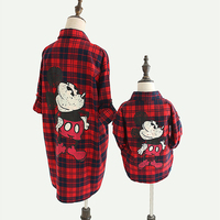 Spring Autumn mother daughter blouse matching family outfits mother kids clothes matching outfits check mickey miki 2 to 9 yrs