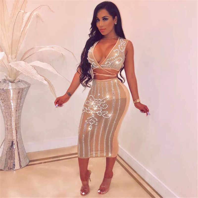 Sparkly Rhinestone Sexy Sheer Mesh Dress Women Elegant Diamond Beaded  Luxury Embellished Celebrity Birthday Party Bodycon 378b65f9c813