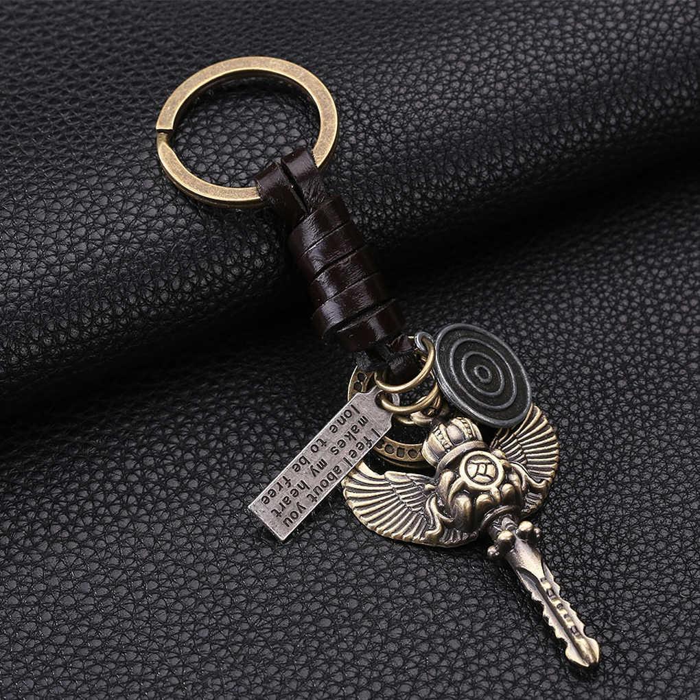 Erkekler deri örgülü botları saat anahtar şekli anahtarlık çanta kolye anahtar zincirleri halka tutucu