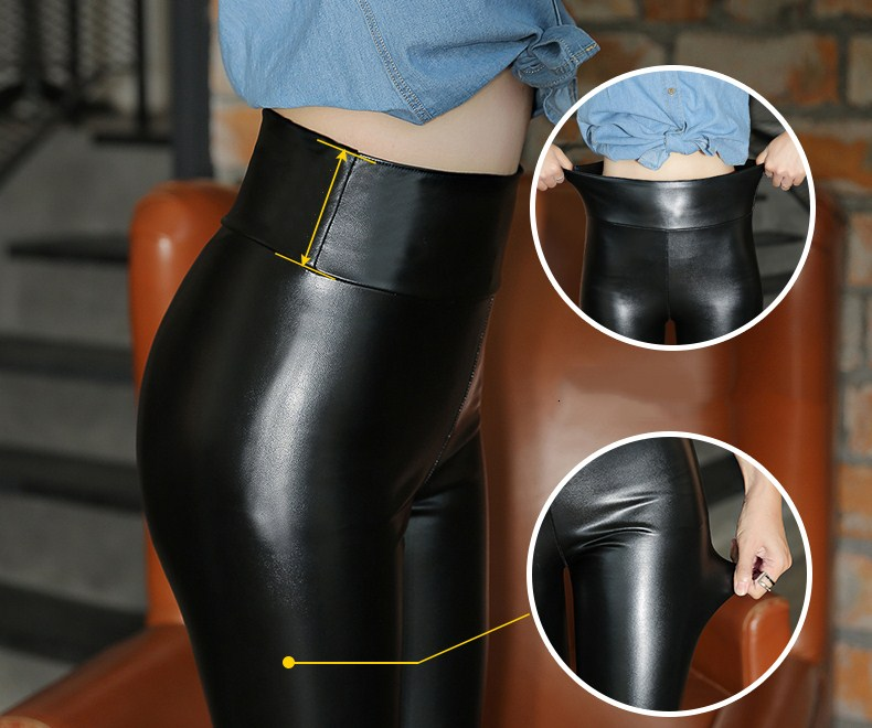 HTB12RLyXQ5E3KVjSZFCq6zuzXXaJ - Winter Leather Pants For Women Gold Fleeces Warm Thicken Pencil Pants High Waist PU Skinny Leggings Female Fall Trousers P9108