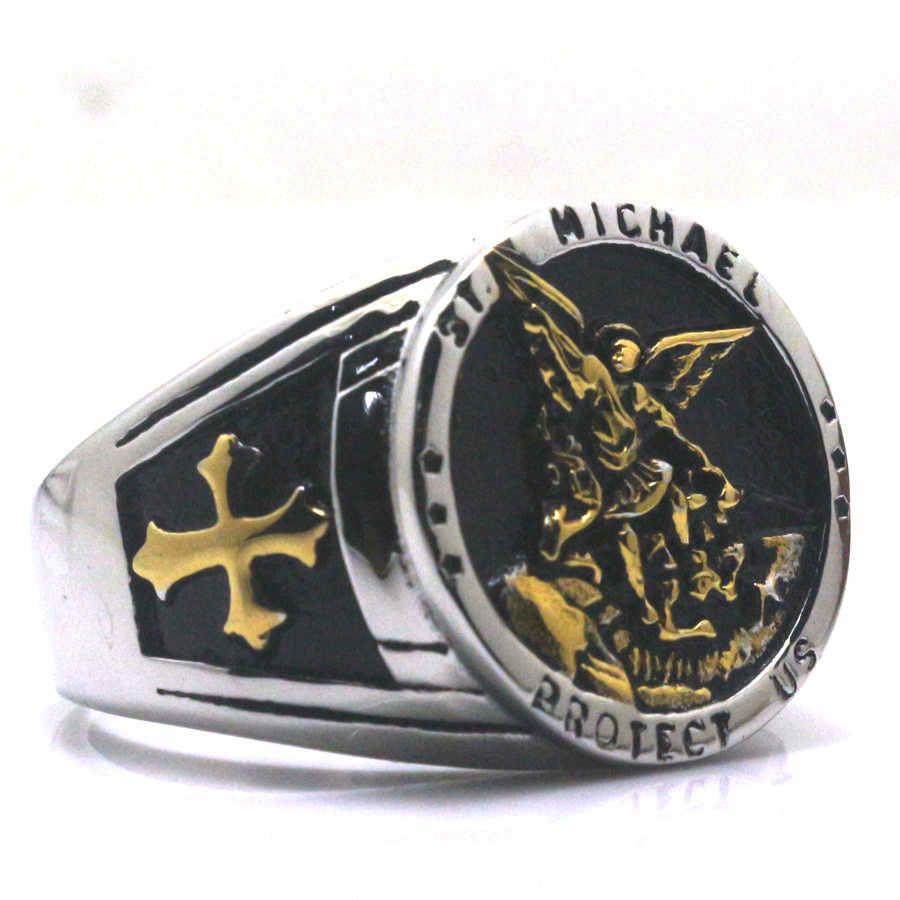 צלב סנט מייקל להגן עלינו 316L נירוסטה מגניב זהב וכסף עגול טבעת חדש משלוח חינם