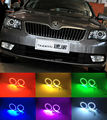 For skoda Superb 2008 2009 2010 2011 2012 2013 2014 Excellent RGB led Angel Eyes kit Multi-Color Ultrabright 7 Colors Halo Rings