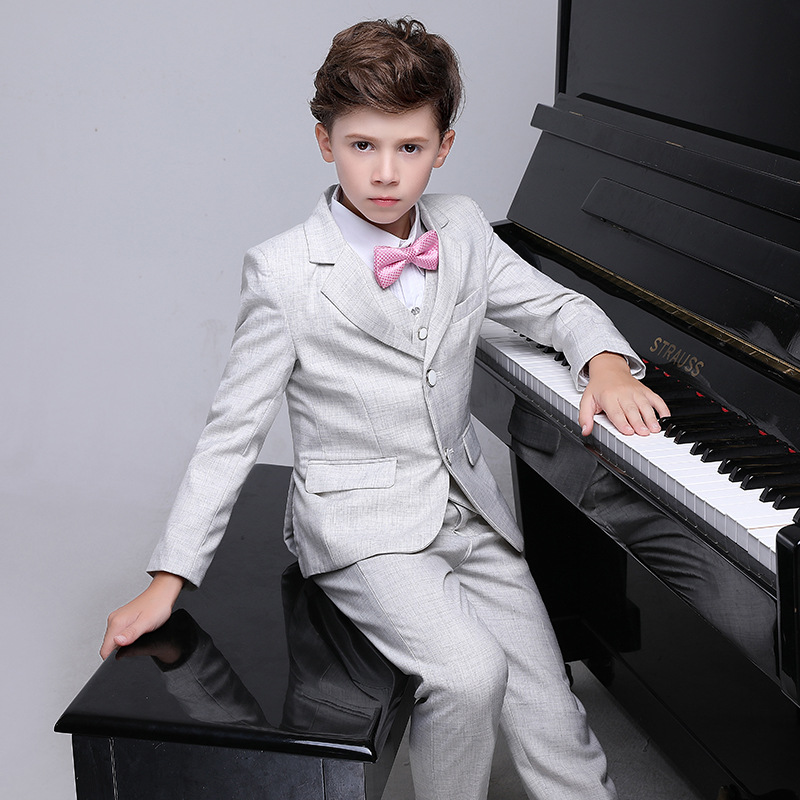 Flower Boys Birthday Wedding Suits Kids Formal Party Dress Tuxedo Piano Performance Costume Suits H460