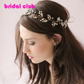 Handmade Pearl Crystal Gold Wedding  Hair Accessories Bridal Headwear Wedding Beads Hair Jewelry Head Chain Headpiece