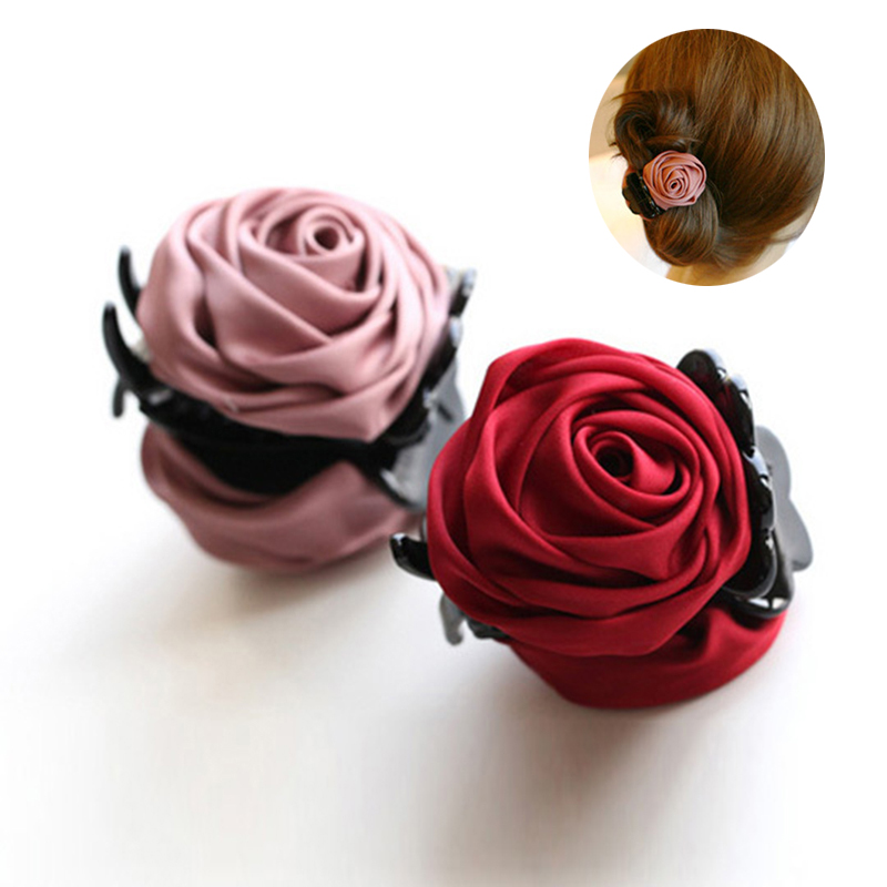 Rose Flowers Black Plastic Teeth Hair Claw Clips Exquisite Elegant Headwear For Women Girl Hair Accessories halloween party zombie skull skeleton hand bone claw hairpin punk hair clip for women girl hair accessories headwear 1 pcs