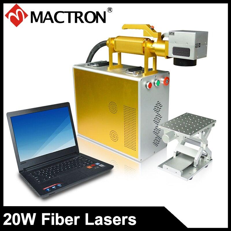Mactron бренд 20 Вт волокно портативный мини лазерный маркировщик маркер для металлического листа, золото, серебро, алюминий, чехол для телефона
