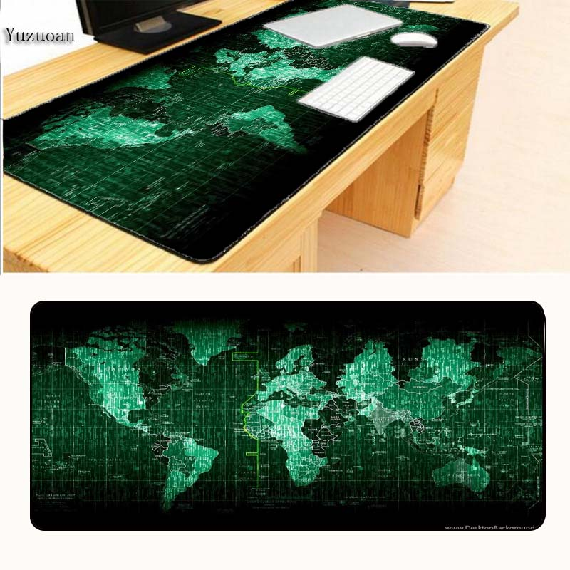 Yuzuoan Lock Edge World Map rubber mouse pad large mouse mat desk mats big mousepads gaming rug XL for office work/ gaming Gift