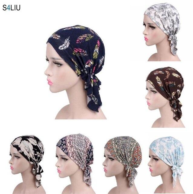 Women Hijab Cap Muslim Inner Cap Islamic Headwear Lady Hat Cap Flower Print Hair Accessories Turban Cap Bandana Choker Headband