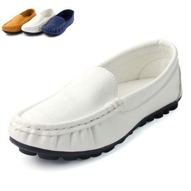 Nova primavera outono couro enfant garcon mocassin shoes para meninos meninas macio loafers ue 26-37 crianças de moda da criança sneakers flats