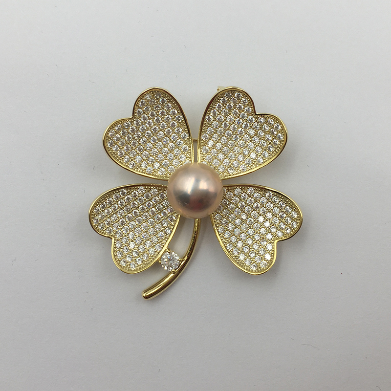 Sinya Natural Pearl Four leaves design Brooch lucky Clover Gold plated Brooches New arrival 2018 pink purple white optional (2)