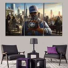 Modular Picture Framework Canvas HD Print 3 Pieces Watch Dogs 2  Marcus Holloway And DedSec Painting Wall Art Game Poster