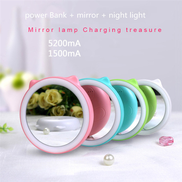 Portable Creative POWER BANK LED Vanity Mirror Nightligh USB Rechargeable Makeup Mirror for Cosmetic Skin Care BLACK FRIDAY