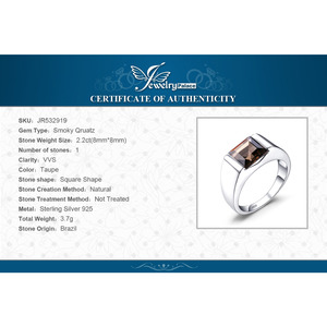 Image 5 - Jewelrypalace Mens Square 2.2ct Genuine Smoky Quartz Wedding Ring 925 Sterling Silver Wedding Ring For Men Fashion Accessories