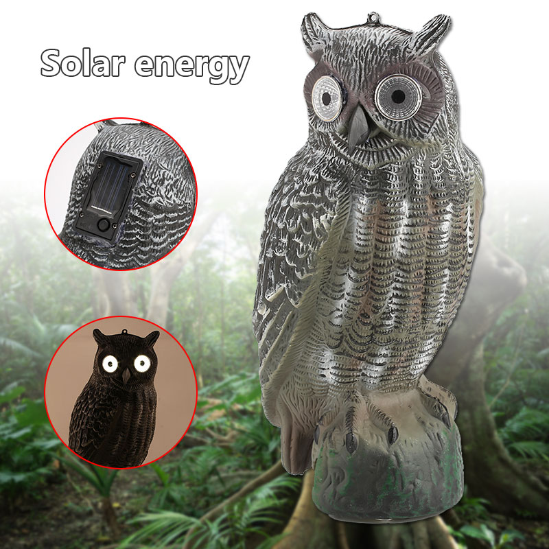 1Pc Solar Realistic Owl Killer Hunting Scarecrow Decoy Energy Crops Repellent Bird Garden Tools Rodent Pest Repeller